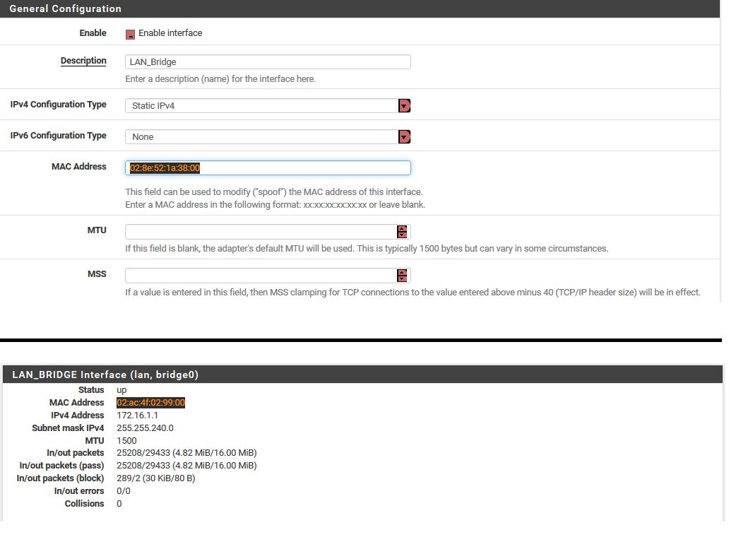 LAN_Bridge set MACC address doesn't stick on reboot | Netgate Forum