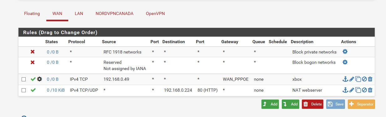 having problems with port forwarding and nat and vpn
