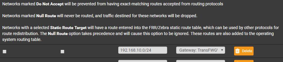 FRR/OSPF won't distribute static routes from FRR/Zebra