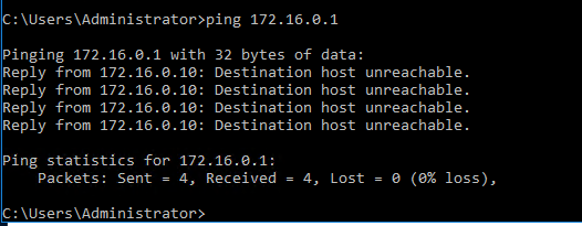 Ping to DG gives Destination Host Unreachable error.PNG